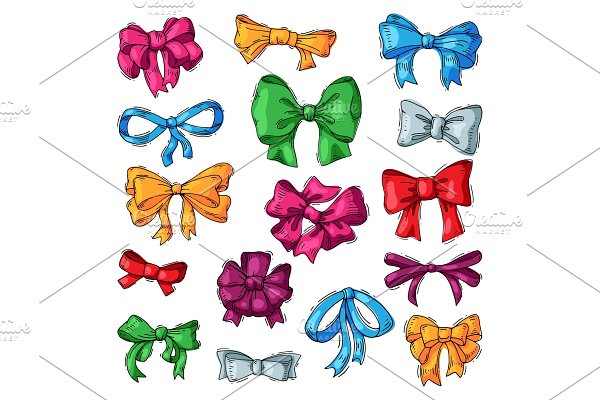 Bow vector bowknot or ribbon for decorating gifts on Christmas or Birtrhday illustration set element of bowed or ribboned presents on holidays celebration isolated on white background