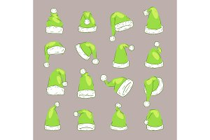 Christmas Santa Claus Green elf hat vector noel isolated illustration New Year Christians Xmas party design decoration hats