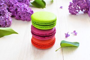 Sweet colorful french macaroons