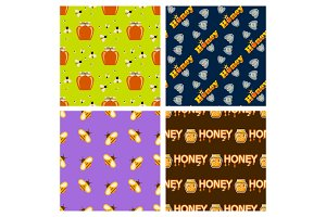Honey jar food glass healthy delicious natural seamless pattern background organic ingredient yellow sweet vector illustration.