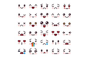 Kawaii vector cartoon emoticon character with different emotions and face expression illustration emotional set of japanese emoji with different emotive feelings isolated on white background