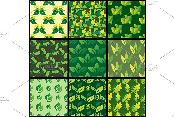 Seamless pattern with green leaves background vector illustration nature design floral summer plant textile fashion tropical art.