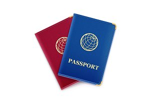 Red and blue passport.