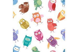 Owls vector cartoon cute bird set cartoon owlet character kids animal baby art for children owlish collection seamless pattern background