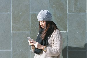Woman using smarphone