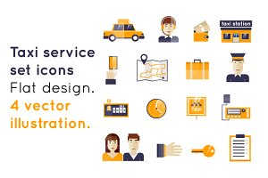 Taxi service set icons