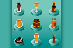 Beer color isometric icons