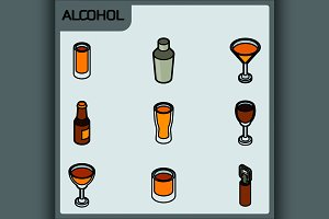 Alcohol color outline isometric icon