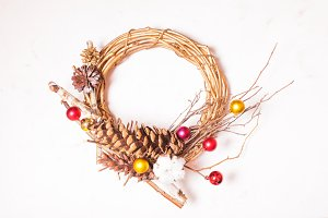 Vintage stylish Christmas wreath