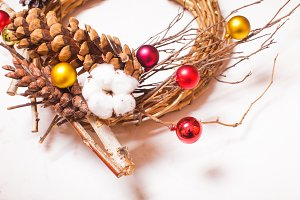 Christmas rustic wooden wreath