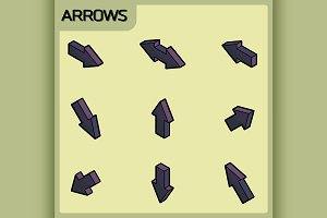 Arrows color outline isometric icons