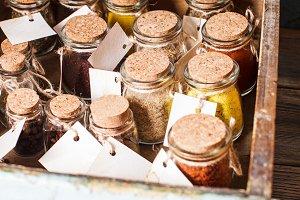 Spices in vintage bottles