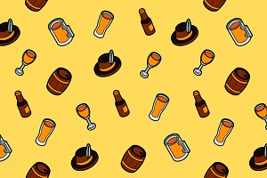 Beer color outline isometric pattern