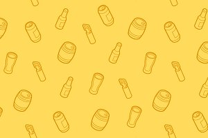 Beer outline isometric pattern