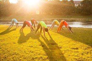Sunrise outdoor yoga class