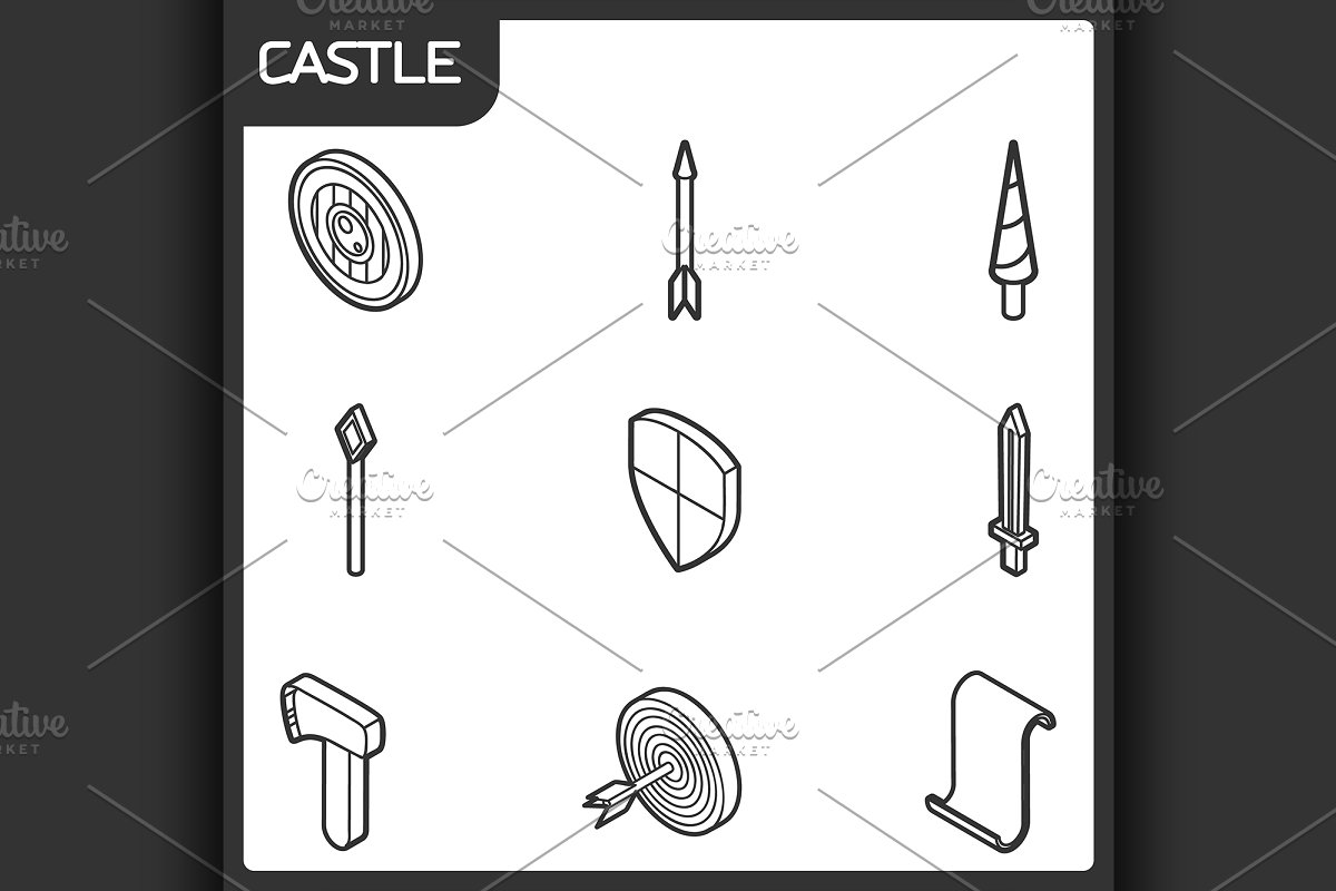 Castle Outline Isometric Icons Illustrations Creative Market