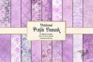 Distressed Purple Damask Textures