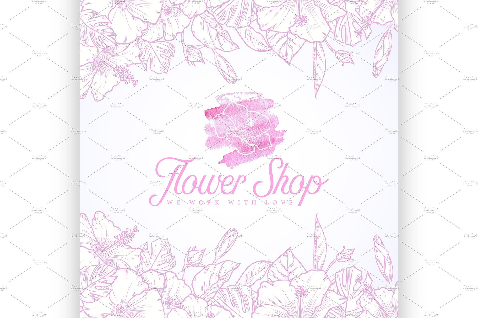 Flower Shop Logo Illustrations Creative Market