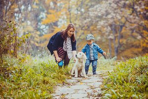 Family during autumn walk