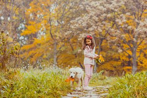 The girl and her golden retriever dog