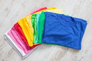folded colored tshirts
