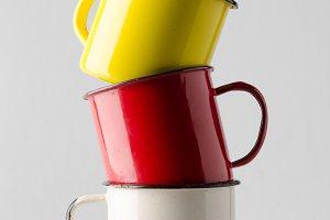 Enamel Mug Mock-Up - Three Mugs