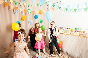 bright children celebrate birthday