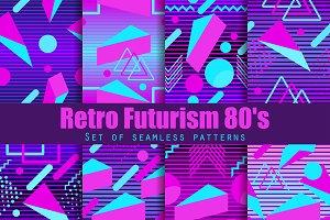 Retro futurism seamless pattern set