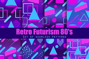 Retro futurism seamless pattern set