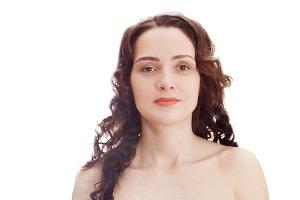 beautiful brunette with nude makeup