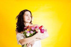 The girl and wonderful tulips