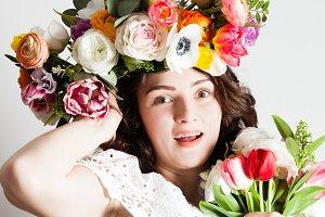creative beautiful woman in spring