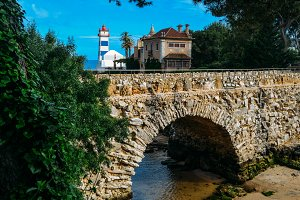 View of Santa Marta lighthouse and Municipal museum of Cascais, in Portugal.