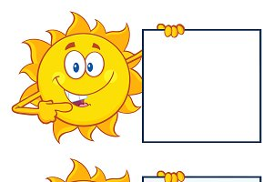 Sun Cartoon Character. Collection 30