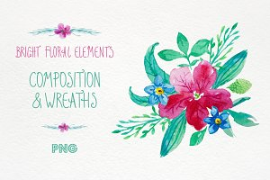 Bright floral elements. Watercolour