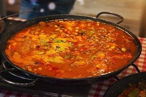 Paella preparation