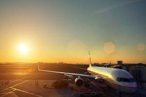 Airport terminal at sunset