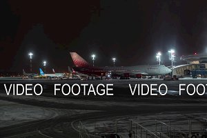 Timelapse of night routine in Vnukovo Airport. Moscow, Russia