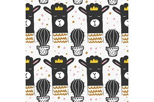 Cute seamless pattern with llama