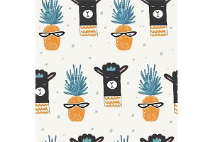 Cute seamless pattern with alpaca