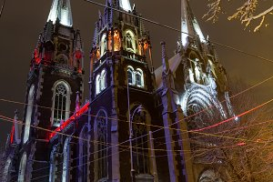 Night winter Lviv city, Ukraine