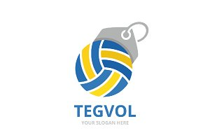 Vector volleyball and tag logo combination. Play and shop symbol or icon. Unique ball and label logotype design template.