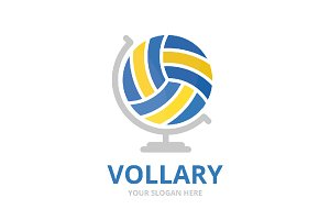 Vector volleyball and globe logo combination. Play and planet symbol or icon. Unique ball logotype design template.