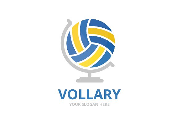 vector volleyball and globe logo logo templates creative market
