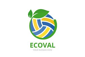 Vector volleyball and leaf logo combination. Play and plant symbol or icon. Unique ball and organic logotype design template.