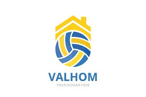 Volleyball and real estate logo