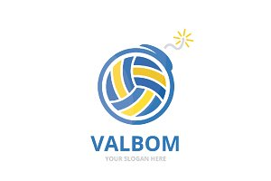Vector volleyball and bomb logo