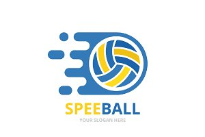 Vector fast volleyball logo