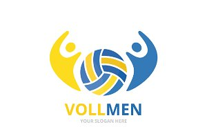 Vector volleyball and people logo