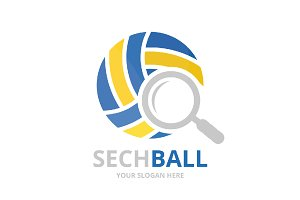 Vector volleyball and loupe logo combination. Play and magnifying symbol or icon. Unique ball and search logotype design template.